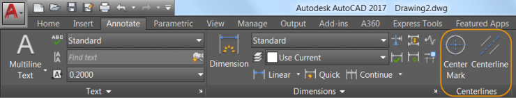 AutoCAD 2017 - Centerlines and Center Marks